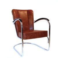 Herenfauteuil 412 Hoogglans Chroom Vintage Lederen Versie