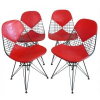 DKR 2 Set Red Leather / Chrome, Ray & Charles Eames
