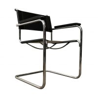 B34 Side Chair in Black Leather