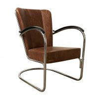 412 Easy Chair in Vintage Brown Leather