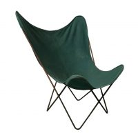 Green Cover with Grey Base Butterfly Chair, Ferrari, Hardoy
