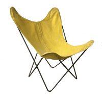 Gele Vlinder stoel met Zwart Frame, Ferrari, Hardoy