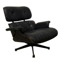 Zeldzame Eerste Editie 1956 van Lounge Chair in Zwarte leder, Ray & Charles Eames