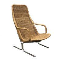 Zeldzame 514 Originele Rieten Lounge Chair met Chroom Frame, Sliedregt, Dirk van