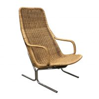 Zeldzame 514 Originele Rieten Lounge Chair met Chroom Frame
