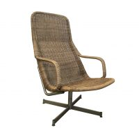 Rare 514 Original Wicker Lounge Chair with Chrome Base