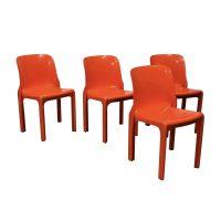 Set of Four Orange Selene Chairs