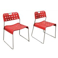 Two Rare Red Omstak Stacking Chairs for Bieffeplast, Kinsman Rodney