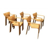 Five Stackable Bended Wood Strip Rare Arm Chairs