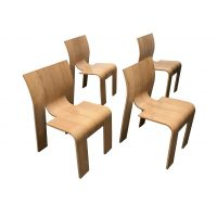 Set of Stackable Bended Wood Strip Chairs
