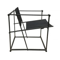 FM62 Cube Lounge Chair in Black Linen