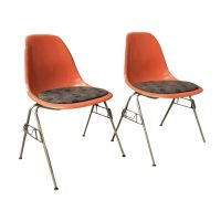 2 DSS Fiberglass Stacking Chairs & Pillow