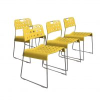 4 Rare Yellow Omk-stack Stacking Chairs, Kinsman Rodney