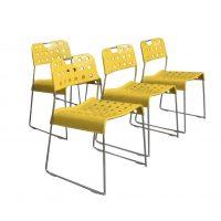 Set van Vier Zeldzame Gele Omstak Stapel Stoelen, Kinsman Rodney