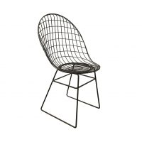 Black Wire Dining Chair with Beautiful Curves and Elegant Silhouet
