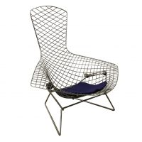 Chroom Bird Fauteuil Met Paars Kussen, Harry Bertoia, Knoll International