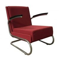 Dutch Tubular Easy Chair in Burgundy Red and Black Armrests