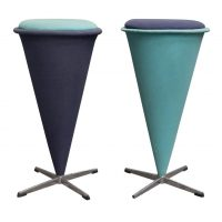 Cone High Stool, Original Turqois Linen Fabri