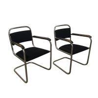 Set of Original Tubular Chairs with Black Upholstery, Dutch Design