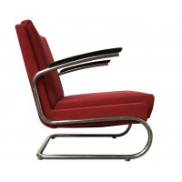 Dutch Tubular Easy Chair in Burgundy Pinkish Red and Black Armrests