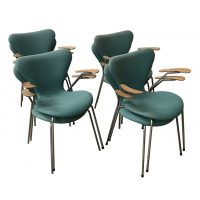 Eight Turquoise to Upholster 3207 Butterfly Armchairs