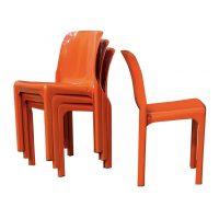 Four Orange Selene Chairs, Vico Magistretti, Artemide
