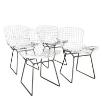 Harrie Bertoia for Knoll International a Set of Wire Dining Chairs