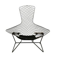 Bird Stoel in Zwart, Harry Bertoia, Knoll International