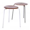 Set of Two 3170 Stackable Stools in Wood, Arne Jacobsen, Fritz Hansen