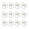 White Omstak Stacking Chairs, Kinsman Rodney