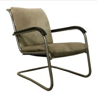 Easy Chair, Fabric with Black Lacquered Wooden Armrests