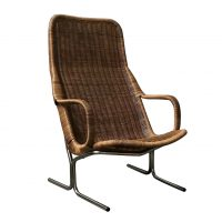 Rare 514 Original Wicker Lounge Chair with Black Base