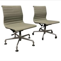 Ray and Charles Eames, Fabric, Adjust, Tilt 2 Office Chair 5 Wheels, One No Arms, One with Arms