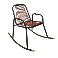 Rocking Chair in Red Plastic Strings on Black Metal Frame