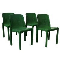 1969, Vico Magistretti for Artemide, Set of Four Green Selene Chairs