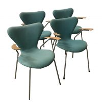 Set of Four Turquoise Upholstered 3207 Butterfly Armchairs, Arne Jacobsen, Fritz Hansen