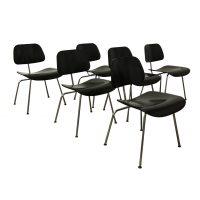 Set van Zes DCM Stoelen in Zwart, Ray & Charles Eames
