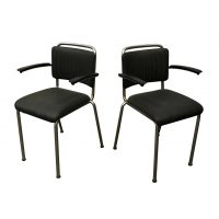 Set of Two 201 Tubular Dining Chairs in Grey Upholstery by Gispen