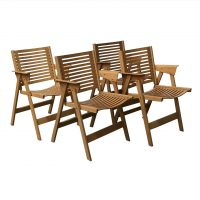 Set of Wooden Folding Dining Chairs, Kralj