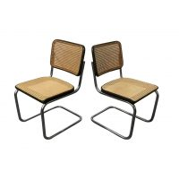Set Original Early S32 in Wicker and Black, Thonet, Marcel Breuer