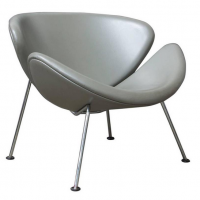 Silver Grey Leather Slice Chair