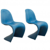 Set of Blue Stacking Chairs