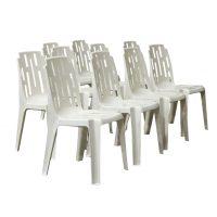 Tien witte elegante comfortabele Tuin stoelen