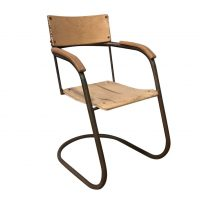 Tube Chair, Original in Copper and Upholstered Wood, Paul Schuitema, Fana Metaal