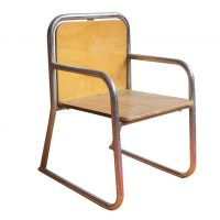 Tubular Children Chair, Wood and Chrome