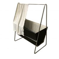 Museum Piece Unique Cradle Black Wood Chrome, circa 1930, Gispen