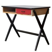 Wooden Writing Desk with Red Drawer and Formica Top, de Vries